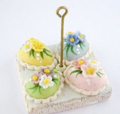 1/12th scale  PASTEL EASTER EGG CAKES BY LORY by 64tnt on Etsy