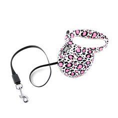 Donnez un look fashion à la balade de votre compagnon avec cette laisse léopard pour chien. C'est une laisse chien rétractable et solide. #chien #dog #animal #animaux #animals #laisse #leopard #rose