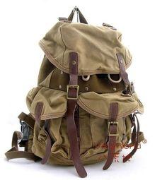 Vintage Khaki Canvas Travel Backpack Bag Rucksack