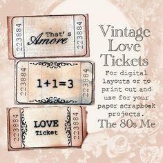 ♥ Miss Cutiepie Inspiration - Freebies & Inspiration ♥: :: Freebie vintage love tickets ::