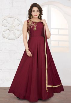 Long Anarkali, Anarkali Dress, Abaya Fashion, Fashion Pants, Gown Style Dress, Cheap Gowns, Bridal Lehenga Choli, Maroon Color, How To Dye Fabric
