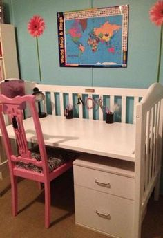 Convert on old used baby crib into a desk {featured on Home Storage Solutions 101}