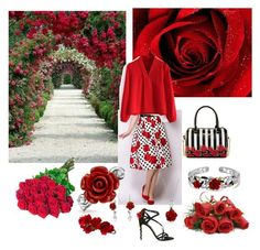 """""""Roses are red..."""" by thefrugal-fashionista on Polyvore featuring Philippa Craddock, Bling Jewelry, Accessorize, Betsey Johnson, Dolce&Gabbana, Chicwish, red, stripes, PolkaDots and dolceandgabbana"""