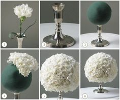 My DIY centerpieces :  wedding green orchids champagne hydrangea tower vases ivory silver diy reception Diy Carnation Centerpieces