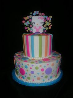 Cute Hello Kitty cake....My daughter had a similar cake made for her Hello Kitty party  :)