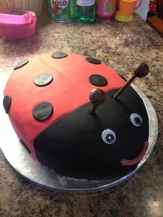 3rd birthday cake - Gaston the ladybird.