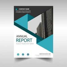 Blue polygonal annual report cover template Free Vector