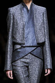 Sculptural Fashion // Haider Ackermann Spring 2013 - Details // neutral grey metallic tweed suit