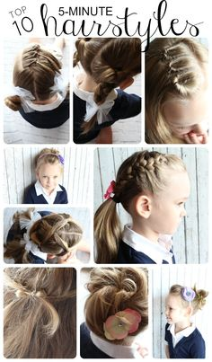 easy 5 minute hairstyles for girls. Great ideas for getting out the door on time.