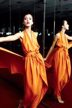 October 1979 — Model Pat Cleveland wearing an orange halter dress and pants ensemble from Halston's Spring 1980 collection ( VIP Fashion Australia www.vipfashionaustralia.com - international clothes shop )