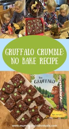 World Book Day: No Bake Gruffalo Crumble Recipe - Looking for inspiration for world book day? Why not try this simple no bake tray bake with a Gruffa - Gruffalo Activities, Gruffalo Party, The Gruffalo, Gruffalo Eyfs, Nursery Activities Eyfs, Gruffalo Costume, Childcare Activities, Sensory Activities, Kids Cooking Recipes