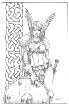 Shield Maiden 2 by MitchFoust on DeviantArt Adult Coloring Book Pages, Coloring Books, Colouring, Hai Tattoos, Dibujos Pin Up, Character Art, Character Design, Drawn Art, Shield Maiden