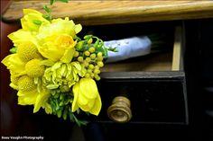 Sweet bridesmaids bouquet of tulips, dahlias, Craspedia and freesia | #StemsFlowerMarket