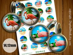 Pink flamingo Tropical Digital Collage Sheet 14mm by DigitalBrook