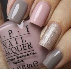 Mauve And Grey Combo Nails with Glitter Accent