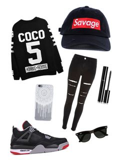 """""""savage"""" by lovelyc4134 ❤ liked on Polyvore featuring River Island, NIKE, Ray-Ban and Chanel"""