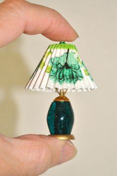 Dollhouse Miniature Table Lamp, Non Working Teal Green Lamp with Shade, 1:12 Scale Handmade