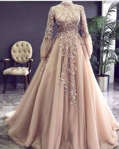 Champagne Prom Dress, High Neck Prom Dress, Vintage Prom Dress, Beaded Prom Dress, Lace Applique Pro on Luulla Muslimah Wedding Dress, Muslim Wedding Dresses, Elegant Prom Dresses, Bridal Dresses, Muslim Prom Dress, Muslim Brides, Dress Wedding, Wrap Dresses, Wedding Hijab Styles