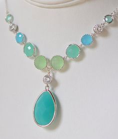 Statement Necklace Large Turquoise Jewel Pendant