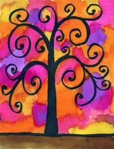 sharpie drawing for tree (chisel tip) plus liquid water color (Dick Blick recommended)