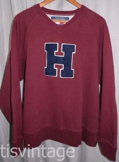 ab7aca8dce7 Vintage Made USA Tommy Hilfiger Varsity Letter Patch Rugby Red Sweatshirt  Shirt