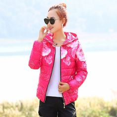 2016 New Fashion Women Winter Coat Long Sleeve Print Floral Hooded Slim Winter Parka Plus Size Cotton-Padded Jackets 2XL QH197