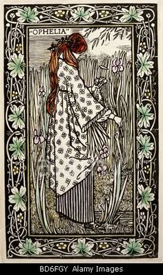 """Ophelia"", woodcut, coloured, by Lucien Pissarro (1863 - 1944), from ""Les Moralites Legenda"""