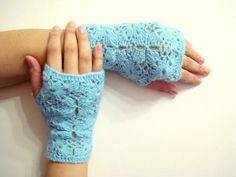 Blue Lace Crochet Fingerless Gloves - Crochet Mittens - Wrist Warmer - Winter Gloves