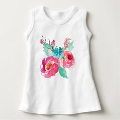 Pink Turquoise Watercolor Peonies Summer Bouquet Dress - click/tap to personalize and buy