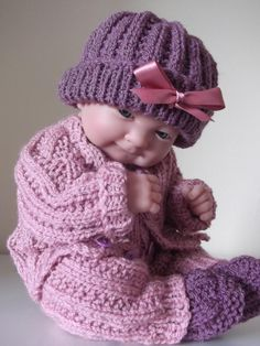 """Pattern for 15"""" dolls knitted set available from http://www.craftsy.com/pattern/knitting/Toy/Cuddly-Set-for-15-Doll-/10660"""
