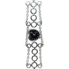 Jill Stuart Heart Shaped Watch    This watch features, stainless steel case and bracelet, quartz movement, and polished stainless steel silver   heart case with black analog dial with silver markers. Water resistant. $280.00