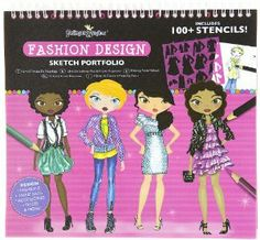 Fashion Design Sketch Portfolio by Fashion Angels Enterprises. $19.99. Easy to follow instruction. Inspirational ideas for fabric swatches, details and color choices.. Express your fashion design talent with this sketch portfolio kit from Fashion Angels.. 6 different page styles to design your fashions, accessories & more!. Includes 7 Stencil cards (100+ stencil designs), 40 Fashion Design Sketch Pages!. Design your own fashions, handbags, accessories, shoes, & more!...