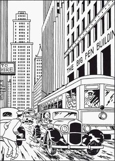 Free coloring page coloring-tintin-in-america. Drawing from Tintin in America by Hergé (1932)