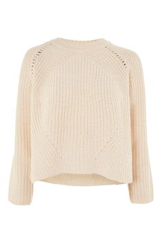 Pointelle Boxy Ribbed Jumper | Topshop