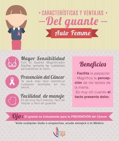 Te compartimos esta infografía sobre los beneficios del guante Auto Femme, recuerda, el guante es únicamente para la prevención del cáncer de mama.