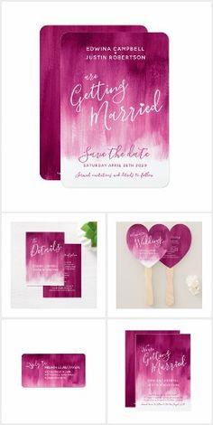 Dark pink modern abstract art wedding collections #weddinginvites #weddingthemes #pinkwedding #darkpinkwedding