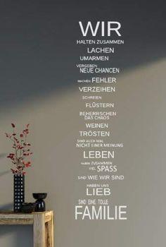 WIR sind eine Familie... - Spruch - Wandtattoo Aufkleber 92x24cm B323-V (blau): Amazon.de: Küche & Haushalt