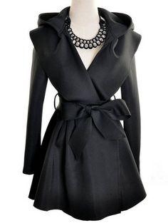 Hooded Self-tie Bow Coat