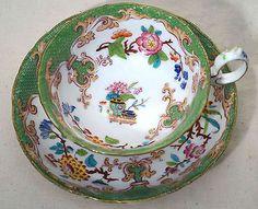 MINTON BOYLE Green Oriental Garden 3969 Pattern Tea Cup and Saucer 1840