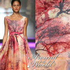 Designer Silk Chiffon Fabric Orange Trees Print By The Yard Printed Silk Fabric, Silk Chiffon Fabric, Chiffon Scarf, Scarf Dress, Diy Dress, Chambray, Diy Scarf, Tree Print, African Fabric
