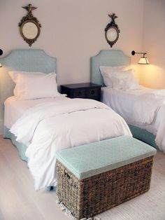 Bedroom - aqua twin beds, fresh and contemporary style and colors with those traditional federal style eagle mirrors.