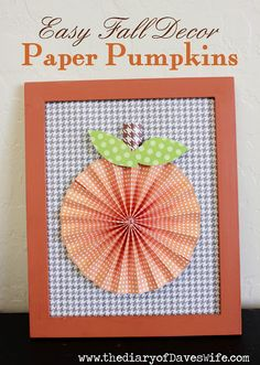 Cute easy pumpkins from folded paper punch-outs! Pumpkin Crafts