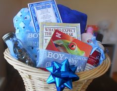New Mother Survival Kit gift basket ~ Basket, Ribbon, Baby blanket & lap blanket, Baby lotion & nice fragrance lotion, A child's book & any advice book (such as What to Expect the First Year), A treat... chocolate is a good choice. Tie the coordinating items together with some ribbon and print one of the New Mother's Survival Kit tags to add to basket