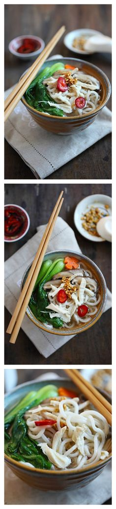 Chinese Chicken Noodle Soup Recipe. Hearty, yummy, and healthy. Make this easily at home with store-bought ingredients | http://rasamalaysia.com