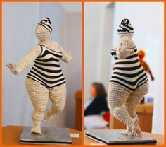 Plump & happy, knitted figure by Yulia Ustinova #vintage #swimsuit #knit…