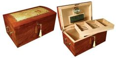 Broadway - The Broadway humidor includes:Capacity 150 Cigars High Gloss Burl Wood Finish w/ Light Mappa Wood Inlay Arch Shaped Top Spanish Cedar Lined Side Handles Remov� Best Cigar Humidor, Tree Burl, Buy Cigars, Meerschaum Pipe, Premium Cigars, Cigar Accessories, Wooden Clock, The Prestige