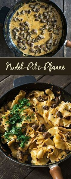 Nudel-Pilz-Pfanne - Madame Cuisine Rezepte mit Pilzen Pasta and mushroom pan Mushroom Recipes, Veggie Recipes, Pasta Recipes, Vegetarian Recipes, Cooking Recipes, Healthy Recipes, Mushroom Pasta, Mushroom Casserole, Mushroom Dish