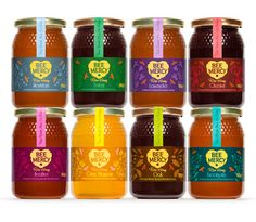 Bee Mercy Raw Honey rebrand with colorful label #packaging PD