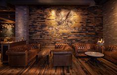 Black and Tan paneling with a custom logo dresses a wall in a Culver City CA tavern. Kentucky Horse Farms, Reclaimed Wood Bars, Tan Walls, Pub Interior, Slat Wall, Brew Pub, Tap Room, Restaurant Design, Sweet Home