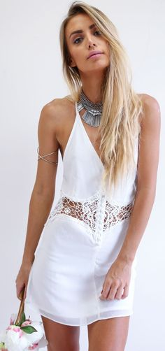 White Lace Dress Summer Style by Sabo Skirt